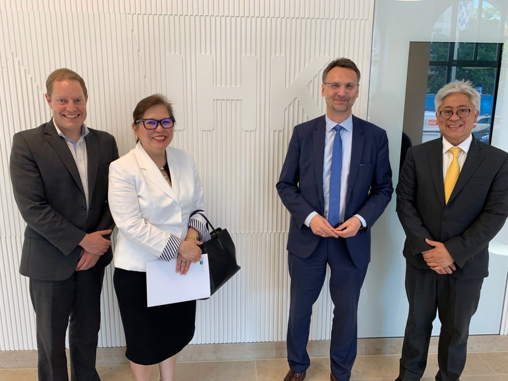 Consul General Austria-Garcia (2nd from left) is shown with Mr. Frank Dollendorf (leftmost), Managing Director for International Business, Industry & Innovation of the Chamber of Commerce & Industry (IHK) of Munich and Upper Bavaria, the largest such chapter in Germany with approximately 390,000 member companies.  Bavaria's GDP in 2018 stood at US$ 700 billion, which is more than double that of the Philippines' GDP of US$ 330 billion in the same year.  The Philippine Consul General underscored that now is the best time to consider the Philippines' as a destination for German investments in view of the country's continued stellar economic performance and challenges being confronted by Germany with its traditional economic partners.  A delegation of corporate executives from Bavaria is being planned to visit the Philippines in 2020.  Also in the photo are Mr. Hannes Aurbach (2nd from right), Unit Head for Asia-Pacific of IHK Munich, and Deputy Consul General Emil Fernandez (rightmost).
