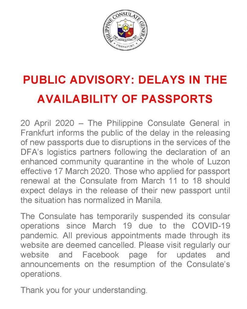 Public Advisory on Delays of Passport