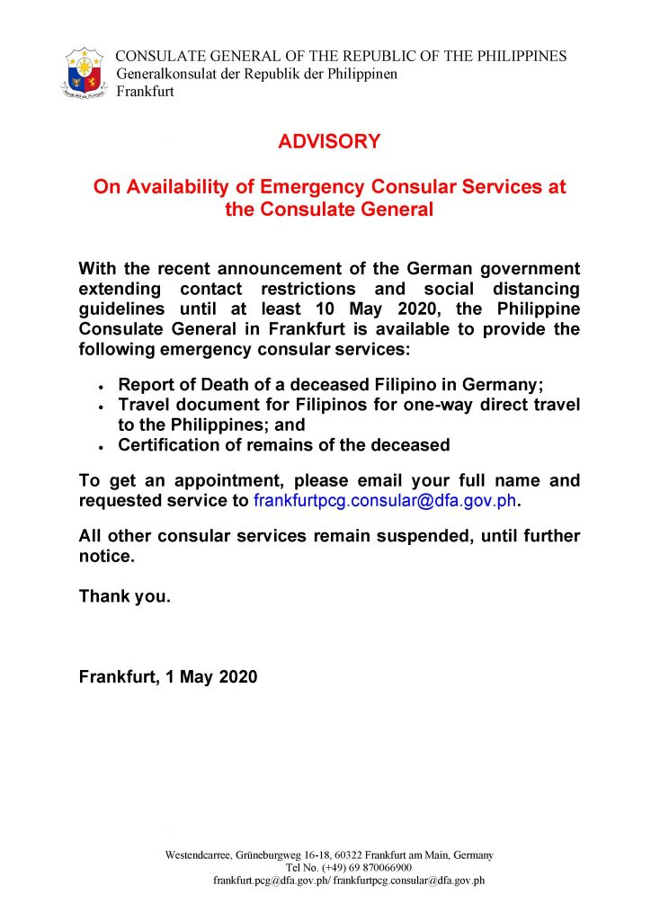 01.05.2020 - Advisory on Availability of Emergency Consular Services