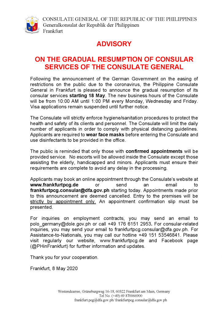 09.05.2020 - Revised Advisory on Resumption of Consular Services on 18 May