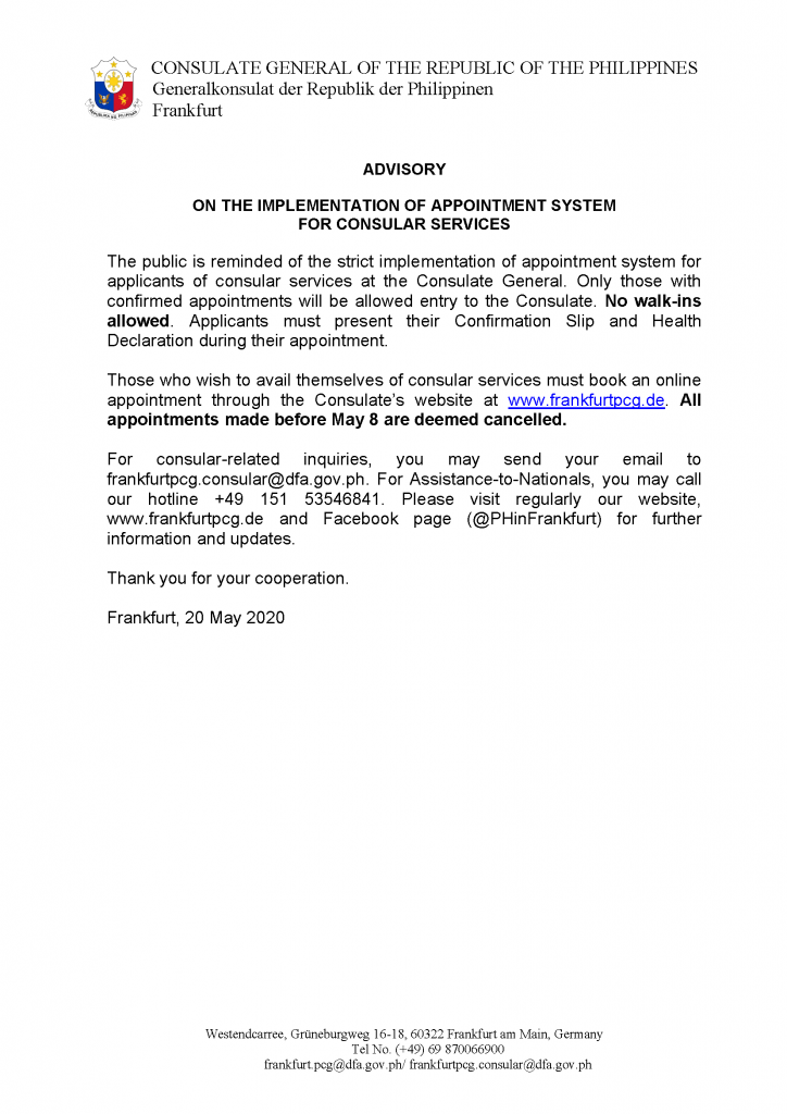 2) Advisory on Implementation of Appointment System
