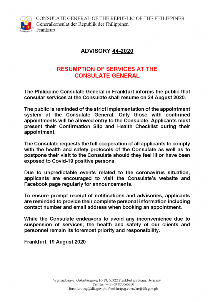 Advisory 44-2020 on Resumption of Consular Services on 24 Aug 2020