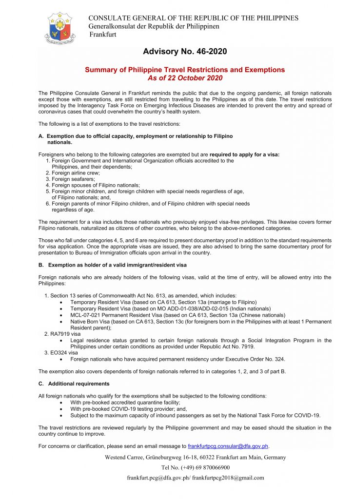 Advisory No. 46-2020 - Travel Restrictions for Foreign Nationals to Enter the Philippines (For Website)_001
