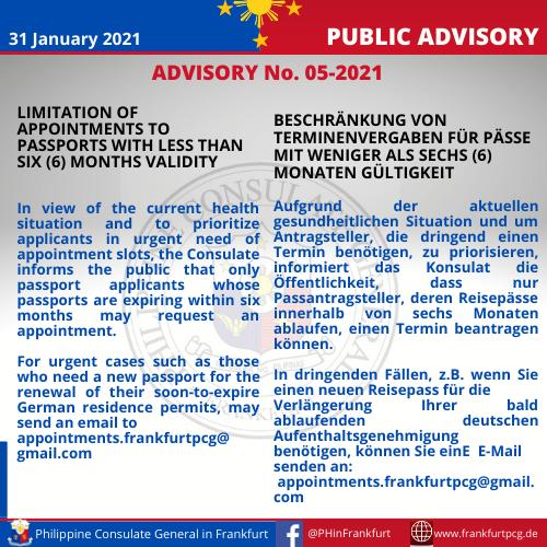 Advisory No. 05-2021 as of 31 Jan 2021