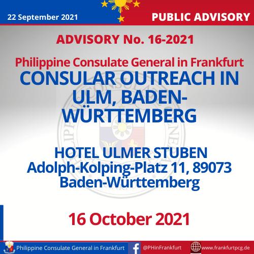 Advisory No. 16 P1 - Consular Outreach in Ulm, Baden-Wuerttemberg
