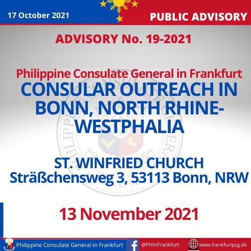 Advisory No. 19-2021 - Consular Outreach in Bonn, NRW